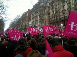 """Le défilé de la """"Manif pour tous"""" à Paris le 13 janvier 2013."""