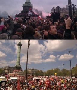 Le rassemblement (en bas) organisé par Jean-Luc Mélenchon se déroulait place de la Bastille près d'un an après les festivités célébrant l'élection de François Hollande (en haut). (Photos D.B. et A.S.)