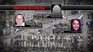Carte montrant le lieu des enlèvements des victimes d'Ariel Castro ( dont la maison est à moins de 10 minutes en voiture )