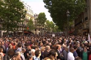 Le manifestation a très largement dépassé les limites de la seule place Saint-Michel.
