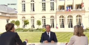 François Hollande face à Claire Chazal et Laurent Delahousse (Capture d'écran)