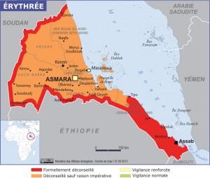 Carte éditée par le Ministère des Affaires étrangères en 2013 définissant les zones à risque.