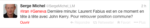 Tweet de Serge Michel, reporter du journal Le Monde