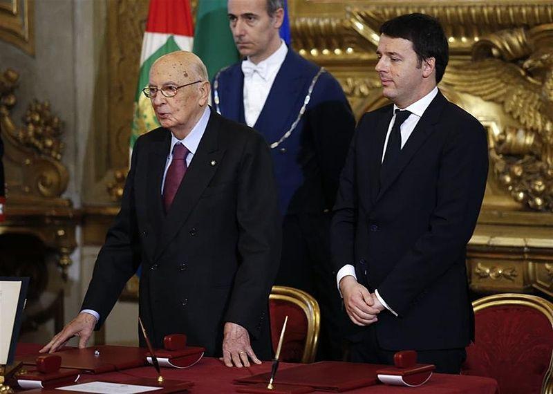 Le président du Conseil, M. Renzi (à droite) avec le président de la répiublique G. Napolitano