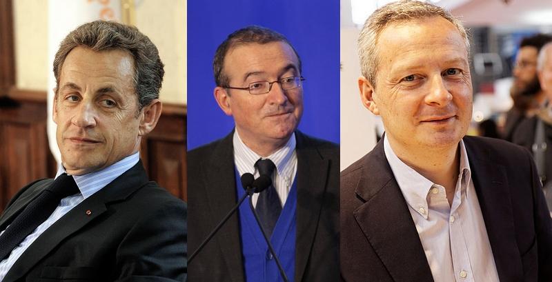 Nicolas Sarkozy, Hervé Mariton et Bruno Le Maire sont pour l'instant les trois candidats s'affrontant pour la présidence de l'UMP (Images: EPP, UMP, Thesupermat / Licence CC)