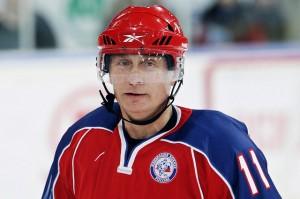 Vladimir Poutine lors d'un match de Hockey sur glace