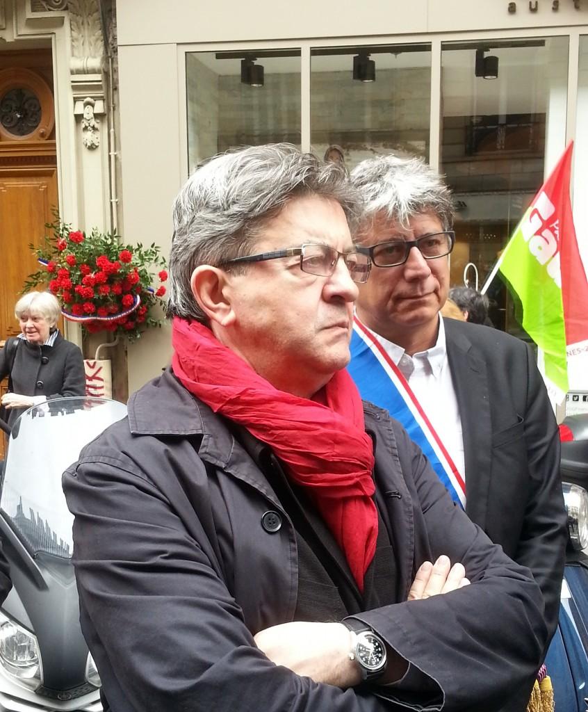 Jean-Luc Mélenchon et Eric Coquerel, après la cérémonie (Photo Roxane Duboz)