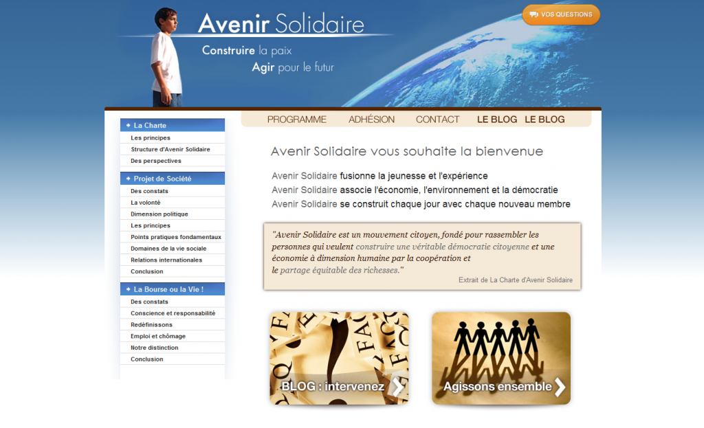 Le site d'Avenir Solidaire (Capture d'écran)