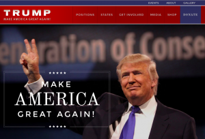 Page d'accueil du site de campagne de Donald Trump (www.donaldjtrump.com)