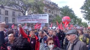 Cortège du parti d'extrême gauche Lutte ouvrière