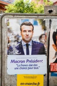 Affiche de campagne d'E. Macron, une image particulièrement diffusée par les médias étrangers. ((adrianhancu – stocklib.fr)