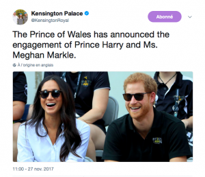 Tweet de Kensington Palace pour annoncer les fiançailles du couple